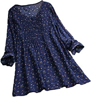 Howely Womens V-Neck Long-Sleeve Linen Cotton Printing Tunic Tops Blouse Shirts