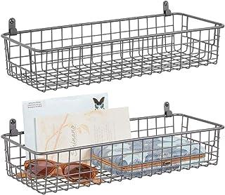 mDesign étagère murale métallique (lot de 2) – petit panier de rangement pour couloir, chambre, etc. – organiseur de lettr...