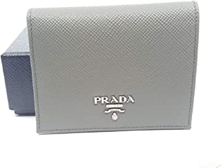 Prada Portafoglio Verticale Marmo Grey Saffiano Cuir Leather Flap Wallet 1MV204