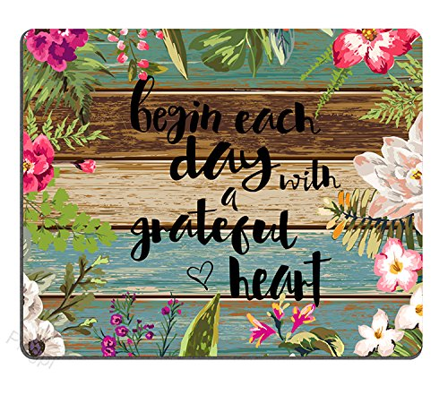 Gaming Mouse Pad Custom, Begin Each Day with A Grateful Heart Wood Signs with Sayings,Personalized Design Non-Slip Rubber Mousepad