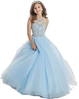 HuaMei Girls Princess Tulle Beaded Straps Ball Gowns Flower Girl Pageant Dresses