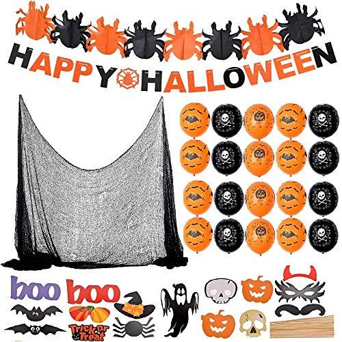 F2 Faburo Halloween Deko XXL Set Grusel Dekoration Halloween Girlande Luftballon Spinnennetz Vorhang mit Buchstabe Girlande Fotosrequisiten für Halloween Party Garten Deko