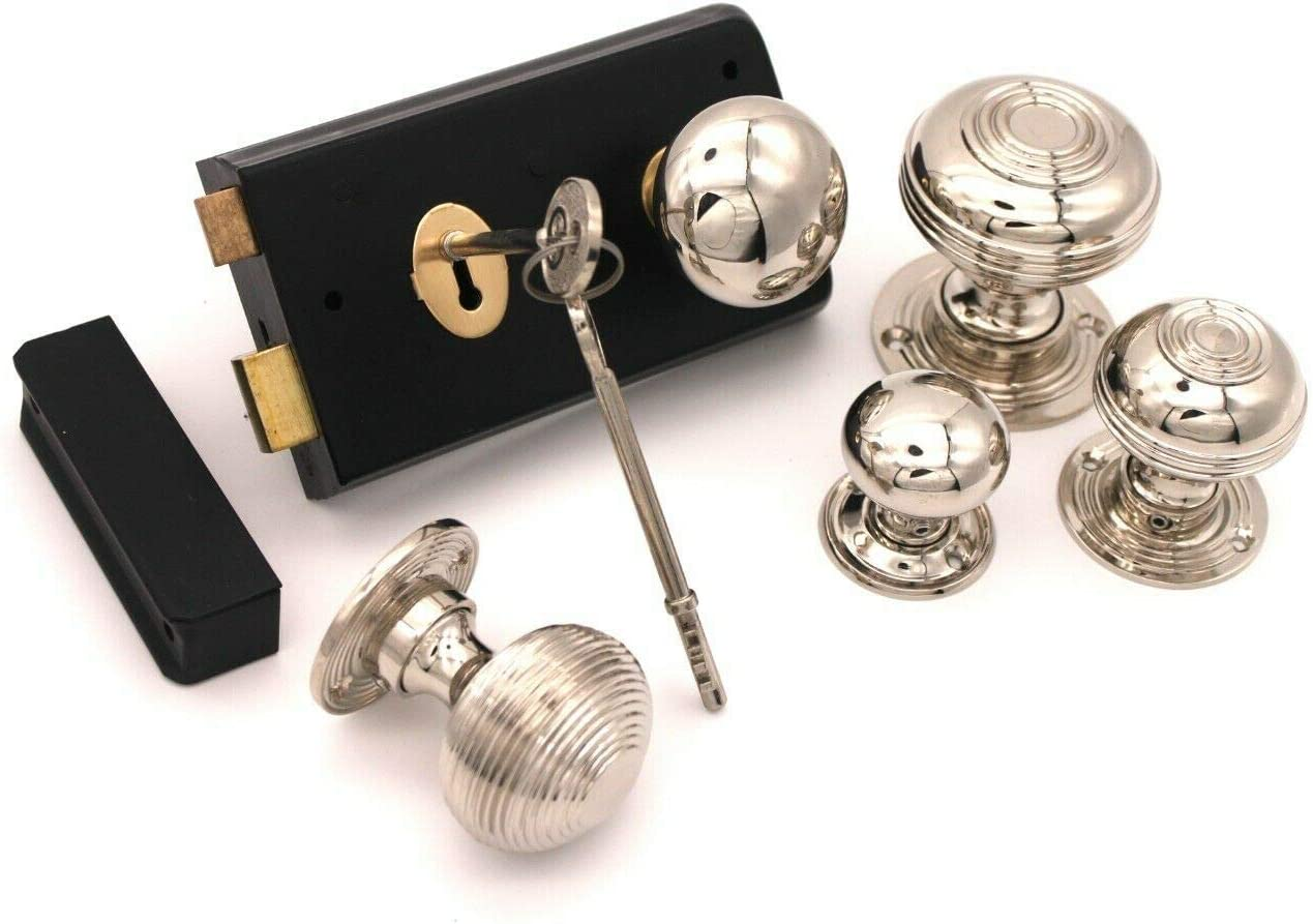 Bloxwich Large N Old Victorian Style Black Door Rim Lock Polished Nickel Door Knob Set