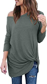 Lookbook Store Women's Casual Soft Long Sleeves Knot Side Twist Knit Blouse Top