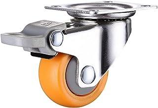 CHENZHANMAOYI 4 stuks 1 inch 25mm Heavy Duty 60kg Orange zwenkwielen Trolley Furniture Caster Rubber Kogelzwenkwielen (Col...