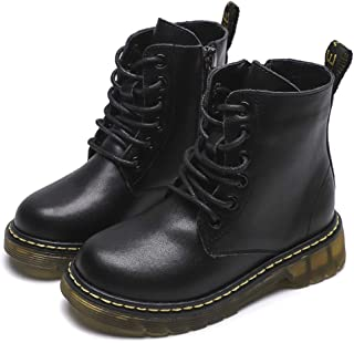Boys & Girls Waterproof Outdoor Side Zipper Lace-Up Leather Winter Snow Ankle Boots