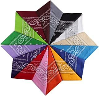 Pack de 12 bandanas de algod/ón con estampado de cachemira bandana para la cabeza bufanda para mujeres y hombres VIPITH color al azar
