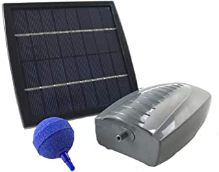 AEO Solar Powered Air Pump Kit: one Airing Stone, 2LPM Air Pump & 1.5W Solar Panel for Fish Pond, Aquaculture, Hydroponics, Bubbleponics