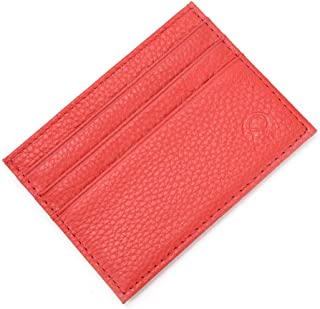 Super Slim Soft Leather Pocket Wallet Credit Card Holder Purse for Men&Women ESU Red