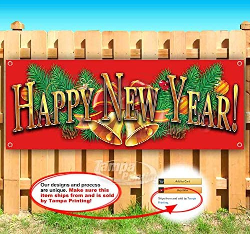 Heavy-Duty Vinyl Single-Sided with Metal Grommets Non-Fabric 13 oz Banner Happy New Year
