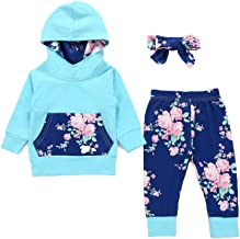 3Pcs Newborn Baby Girls Clothes Long Sleeve Hoodie Top +Kangero Pocket +Floral Pant + Bow Headband Outfits Set