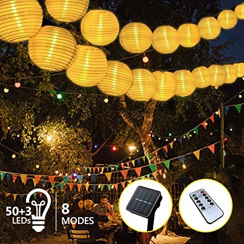 Solar Lichterkette Außen Lampions, FOCHEA Lichterkette Außen 9,3 m 50 LED 8 Modi IP65 Wasserdicht Solar Lichterketten mit Fernbedienung und 3 Ersatzlaternen für Aussen,Garten, Party (Warmweiß)