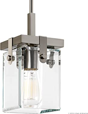 """Luxury Modern Farmhouse Pendant Light, Small Size: 11.875""""H x 6.5""""W, with Industrial Chic Style Elements, Brushed Nic"""