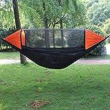 A sixx Tienda Colgante Duradera, Hamaca, Parasol multifunción Flexible Anti-Mosquitos Resistente al Desgaste para Acampar en el jardín(Black+Orange)