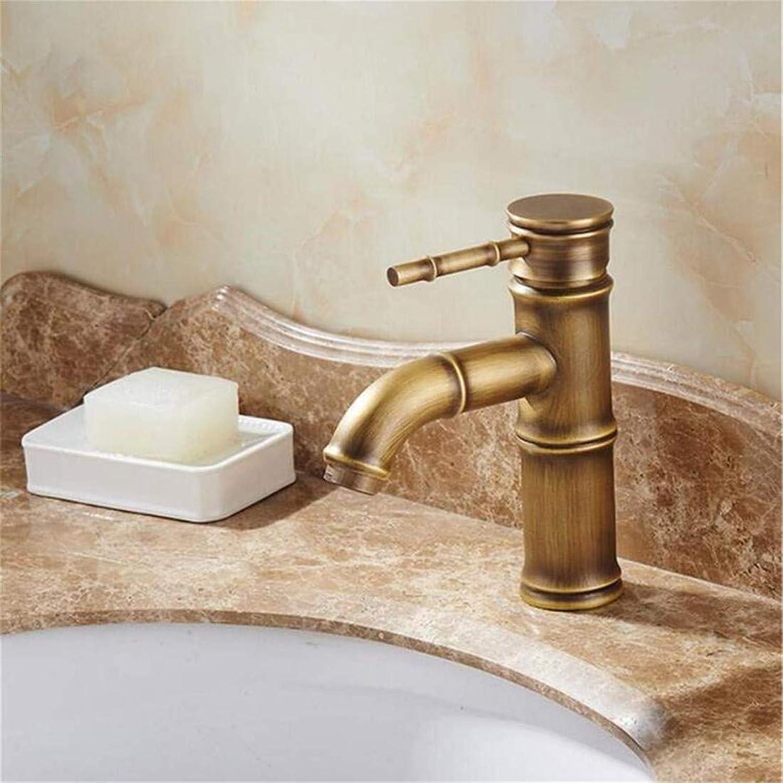 Retro Tap Modern Luxury Copper Mixer Bathroom Faucet Single Handle Bamboo Water Tap Antique Bronze Brass Sink Faucet