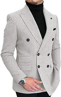 HSLS Men's Double-Breasted Herringbone Slim Fit Men Suit Tweed Wool Jacket Smart Wedding Blazer
