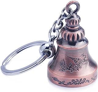 Jzcky Shzrp Cute Creative Car Keychain, Metal Pendant Key Chain Ring KeyRing Keyfob (Light Red Copper Bell)