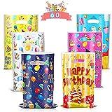 Bolsas Regalo Cumpleaños, 60 Piezas Bolsas para chuches Bolsa de plástico de cumpleaños Bolsas de regalo de caramelo para Niños Suministros Fiesta de Cumpleaños