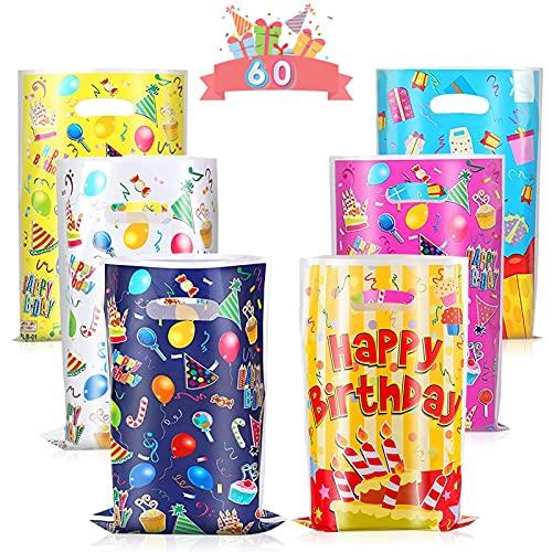 Sacchetti Compleanno, 60 Pezzi Sacchettini Compleanno Bambini Sacchetti di Caramelle Sacchettini di Festa per Natale, Festa, Compleanno, Partito Nozze
