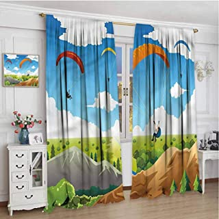June Gissing Cartoon Curtains Panels 84 inches Long, Colorful Parachute Mountain Photo Backdrop Curtain 84 x 84