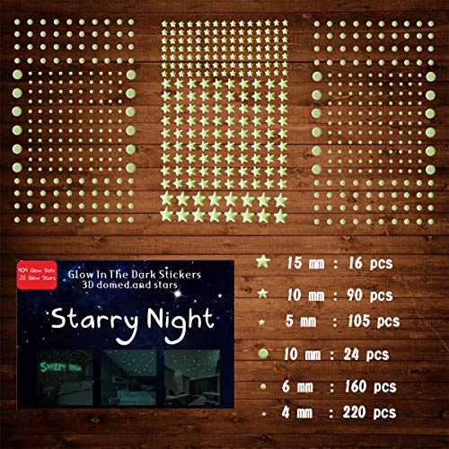 615 PCS Ultra Glow in The Dark Stars Wall Stickers, 3D Adhesive Dots Decor Starry Sky Decor for Kids...