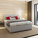 <span class='highlight'><span class='highlight'>PANANASTORE</span></span> 5FT Gaslift Fabric Wood Bed Frame with Storage Ottoman for Adults Children Teenagers Grey