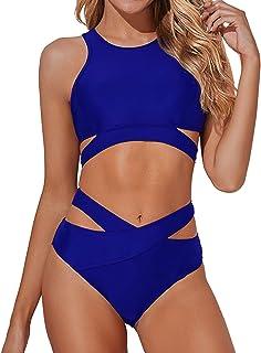 Tempt Me Women High Neck Bikini Set Cutout Swimsuit Two Piece Criss Cross Bandage Bathing Suit Royal Blue XXL