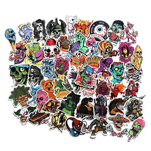 Horror Stickers Pack 100pcs, Vinyl Punk Terror Stickers, Horror Theme Stickers for Water Bottle Helmet Laptop, Horror Gifts for Adults Teens, Car Luggage Bicycle Motorcycle Computer Skateboard Decals (100pcs)