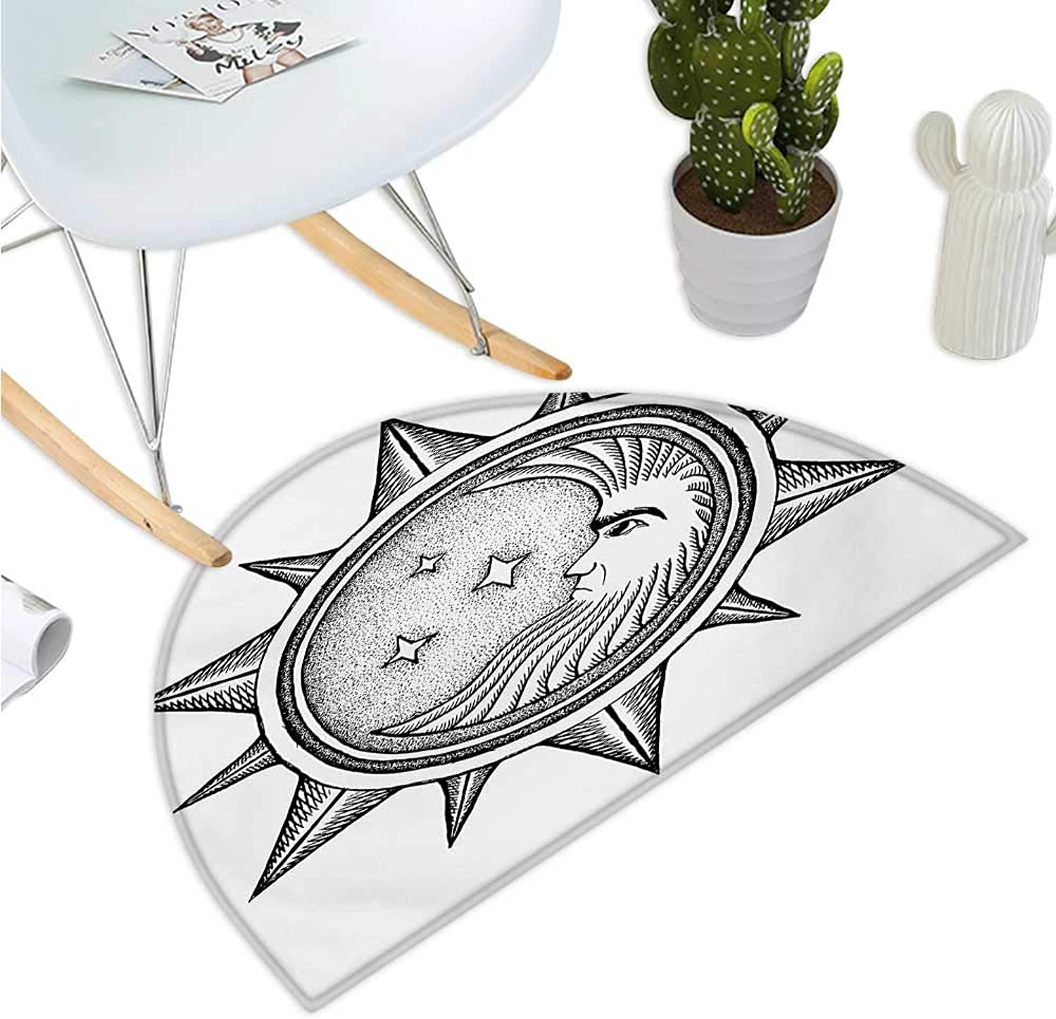 Occult Semicircle Doormat Moon Inside The Sun with Stars Alchemy Clandestine Esoteric Solar Crescent Artwork Entry Door Mat H 35.4  xD 53.1  Black Grey