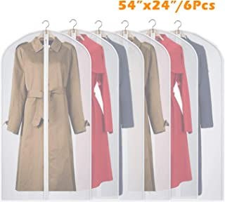 Syeeiex Suit Cover Garment Bag - Breathable 54-inch Long-Dress Anti-Moth with 5# Sturdy Zipper Dust Cover for Clothes Closet Storage Set of 6