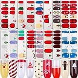 FLOFIA 16 Fogli Adesivi Unghie Natalizi Copertura Completa Smalto Adesivo per Unghie Natale Nail Stickers Full Cover Decalcomanie Autoadesivi Unghie Copertura per Decorazioni Unghie Nail Art Fai da Te