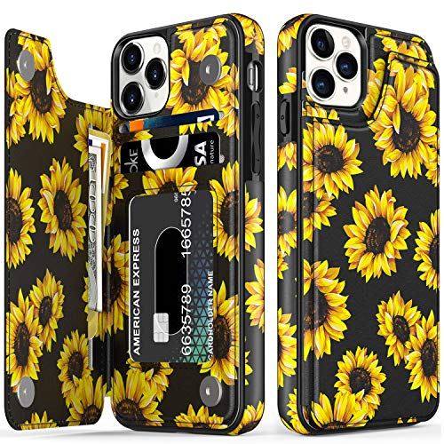 """LETO iPhone 12 Pro Max Case,Flip Folio Leather Wallet Case Cover with Fashion Flower Designs for Girls Women,with Card Slots Kickstand Phone Case for iPhone 12 Pro Max 6.7"""" Blooming Sunflowers"""