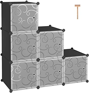 """C&AHOME Cube Storage Organizer, 6-Cube Shelves Units, Closet Cabinet, DIY Plastic Modular Book Shelf with Doors, Ideal for Bedroom, Living Room, Office, 36.6"""" L x 12.4"""" W x 36.6"""" H Black"""