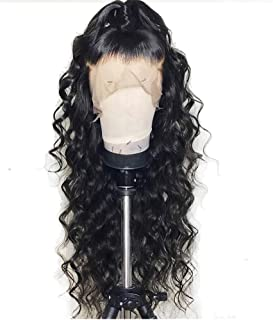 Formal hair® 360 Lace Frontal Loose Curly Wave Human Hair Wigs-Glueless 150% Density Brazilian Virgin Remy Wigs with Baby Hair For Black Woman 22 inch, Natural Color