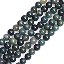 GEM-inside Moss Agate Gemstone Loose Beads 8MM Round Crystal Energy Stone Power for Jewelry Making 15