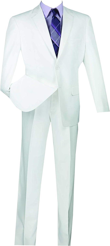 VINCI Men's 2 Button Single Breasted Classic Fit Gabardine Suit 2AA