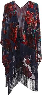 Burnout Velvet Kimono Cover up - Women Floral Ruana Poncho Cardigan Dress with Fringe