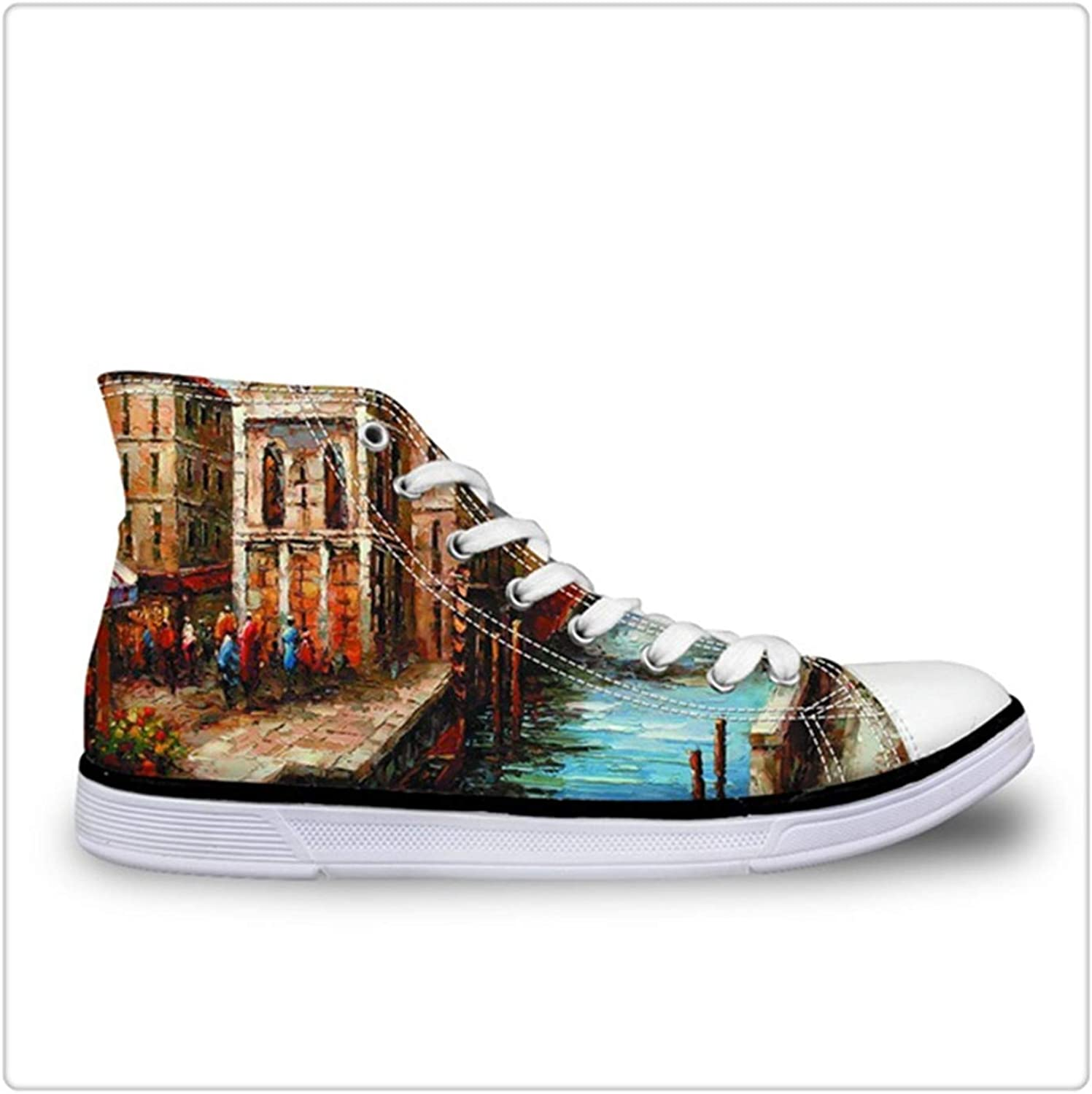 Dmoshibei Starry Night Flats shoes Women Fashion High-top Casual Canvas shoes Classic Vulcanize shoes Hand-Painted Print Flats HK1189AK 41