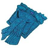 Girls Crochet Mermaid Tail Blanket Knitting Handcraft for Kids, All Seasons Sleeping Bag Blanket(55.1'' x 27.6'')(Purple)