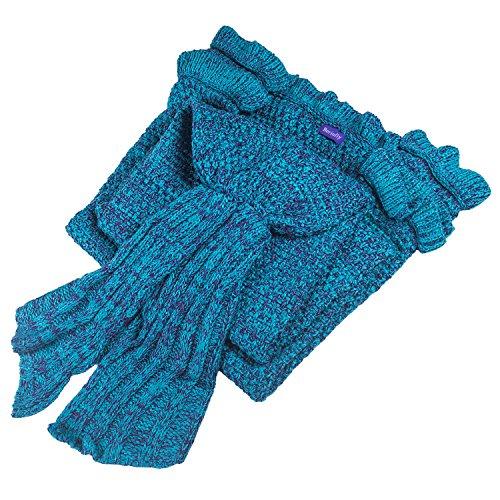 Berinfly Girls Crochet Mermaid Tail Blanket Knitting Handcraft for Kids, All Seasons Sleeping Bag Blanket(55.1'x 27.6') (Lake Blue)