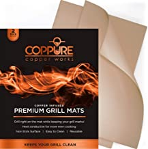 Coppure Premium Copper Grill Mats - Non Stick BBQ Grilling Mats [Set of 2] Reusable and Easy to Clean - Great for Grilling & Baking On Gas Grills, Charcoal, Smokers, Ovens and More - FDA Approved
