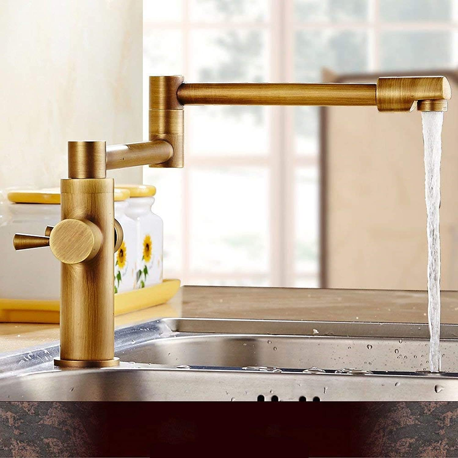 Oudan Kitchen Mixer Tap sink mixer hot and cold antique solid brass swivel spout folding telescopic sink faucet (color   -, Size   -)