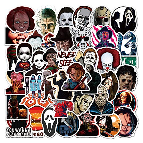 Horror Movie Killer Role Character Stickers 50PCS Thriller Movie Theme Waterproof Vinyl Stickers for Water Bottle Hydroflask Laptop Computer Phone Cup Guitar Car Motorcycle Bike Skateboard Decals