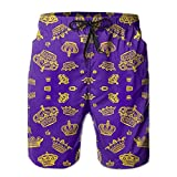 Royal Crowns - Gold On Purple Men's Swim Trunks Quick Dry Beach...