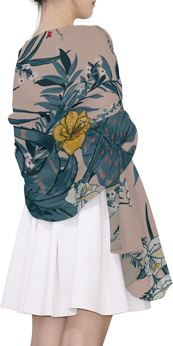 Print Scarf Retro Romantic Summer Hawaiian Flower Shawls Wraps Womens Scarf Wrap Lightweight Print Scarves Color Fashion Neckerchief Scarf For Women H Scarf For Women