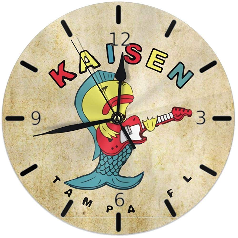 Kncsru La Sirena con la Guitarra Reloj de Pared Redondo para el ...