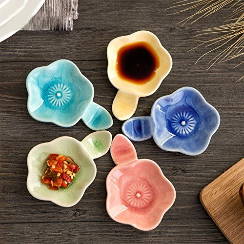 XDOBO Set of 5,Hand-crafted Beautiful Crackle Glaze Sauce Dishes, all kinds of condiment dishes.