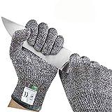 Lot de 3 paires de gants résistants aux coupures de niveau 5 de qualité alimentaire, gants de coupe de cuisine, gants de sécurité pour la coupe de viande, la sculpture sur bois, la mandoline