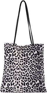Womens Leopard Tote Casual Travel Shoulder Purse Bag Handbag College Beach Pack