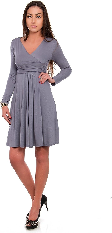 FUTURO FASHION Classic & Sensible Women's Dress V-Neck Long Sleeve Empire 8467
